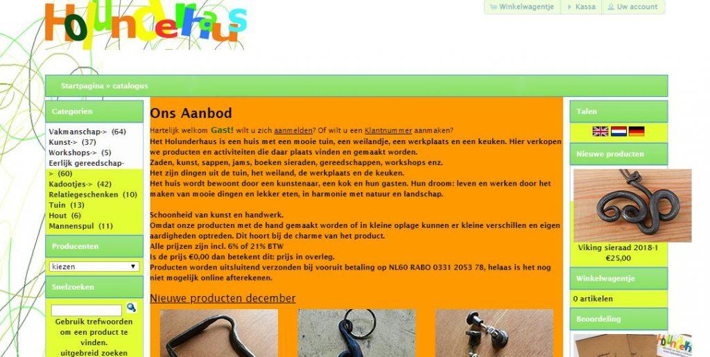 schermafbeelding van de webshop holunderhaus.eu